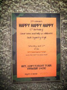 Duck Dynasty Birthday Invitations by MrsCleavers on Etsy, $25.00