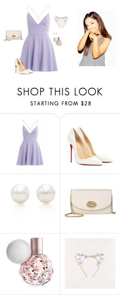 """""""Ariana Grande ~ Lavender Lovely"""" by hanakdudley ❤ liked on Polyvore featuring AX Paris, Christian Louboutin, Tiffany & Co., Coach, women's clothing, women, female, woman, misses and juniors"""