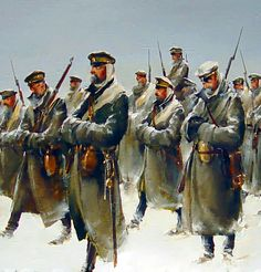 Russian White Army on the march during the CIvil War