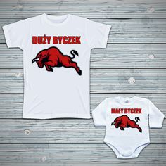Zestaw - Duży byczek, mały byczek #byczek #byk #tata #syn #zestaw #poczpol #bodziak #koszulka #tshirt Onesies, Kids, Clothes, Fashion, Young Children, Outfits, Moda, Boys, Clothing