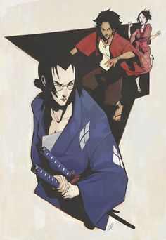 Samurai Champloo My bf got me obsessed with this anime and the music is fucking amazing! Afro Samurai, Samurai Art, Samurai Anime, Samurai Wallpaper, See You Space Cowboy, Otaku, Gamers Anime, Cowboy Bebop, Movie Poster Art