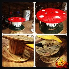 Little mushroom table made from a cable drum.