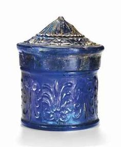 Roman Cobalt Blue Glass Pyxis with Conical Lid, ca. 2nd half of the 1st century B.C.