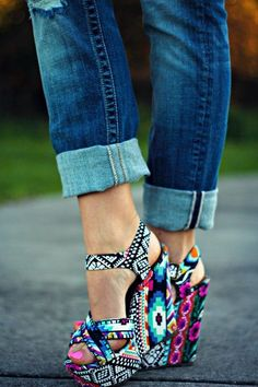 Cute colorful geometric print wedges