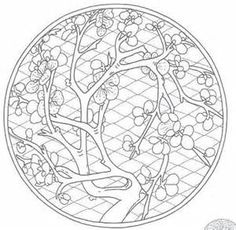 Cherry Blossoms Mandala - Asian Coloring Pages For Adults - Bing Images #AdultCP #Asian #Mandalas