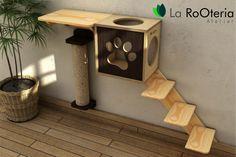 Kit para gatos com arranhador de parede, toca, prateleira e escada Mais