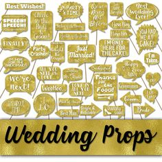 Items similar to Wedding Photo Booth Prop Signs and Decorations - Gold Foil Wedding Printables - Over 50 Images - Printable Wedding Photobooth Props on Etsy Wedding Photo Booth Props, Party Props, Bride To Be Banner, Diy Crafts For Gifts, Wedding Planning, Wedding Ideas, Collage Sheet, Gold Foil, Printables