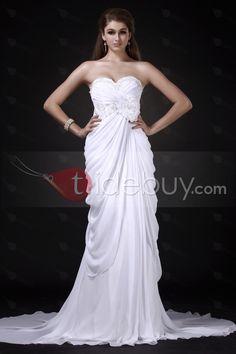 帝国スイートハートネック床長さのフラワーチャペルウェディングドレス