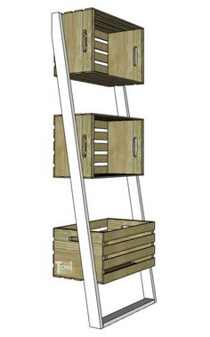 Leaning Crate Ladder Bookshelf and Desk - Her Tool Belt Ladder Bookshelf, Bookshelves, Target Home Decor, Diy Home Decor, Home Projects, Home Crafts, Tv Decor, Room Decor, Crate Shelves