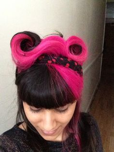 Pink and black victory rolls - rockabilly hair