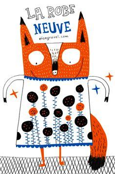 fox by Elise Gravel Illustration Mignonne, Art Et Illustration, Elise Gravel, Zentangle, Typography Inspiration, Cat Art, Illustrations Posters, Creative Art, Painting & Drawing