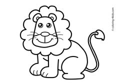 Lion Animals coloring pages for kids, printable free
