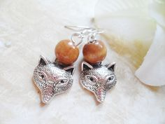 Silver fox earrings with brown wood beads, whimsical jewelry, Selma Dreams Scandinavian style jewellery gifts for her, ready gift wrapped by SelmaDreams on Etsy