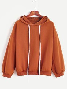 Drop Shoulder Drawstring Hooded Sweatshirt