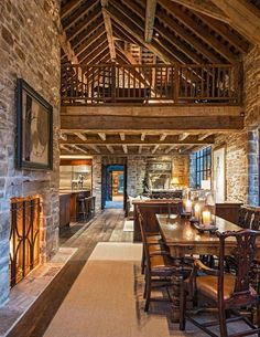 Rustic stone and wood apartment with a view of the Grand Tet .-Rustikale Stein- und Holzwohnung mit Blick auf das Grand Tetons – Besten Haus Dekoration Rustic stone and wood apartment with a view of the Grand Tetons – Best house decoration - Style At Home, Cabin Homes, Log Homes, Rustic Stone, Barn House Plans, Horse Barn Plans, Mountain Living, Timber House, House Built