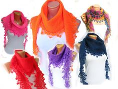 Red Blue White 2012 trends scarf hand knit by WomanStyleStore, $31.00