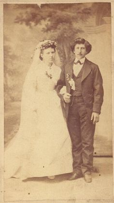 Wedding photograph of William Grimm and Louise Herzog Grimm. (1860-1870) Missouri History Museum.  collections.mohistory.org #vintagewedding #victorianwedding #1860sstyle