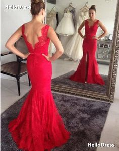 Red Lace Mermaid Evening Dress Prom Gown Formal Occasion Party Dress with  Slit on Storenvy Prom f82cb071f