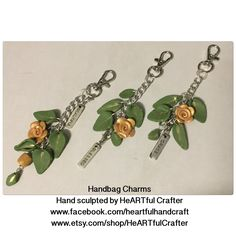 Handbag jewellery charms. Hand sculpted from polymer clay. OOAK by HeARTful Crafter