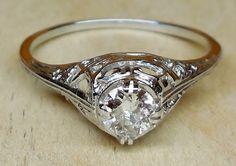 Vintage Antique .33ct Old European Cut Diamond 18k White Gold Engagement Ring 1920's Art Deco Filigree