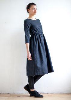Уста к устам  Чёрное платье из хлопка и льна  S  5400