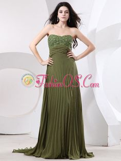 Beaded Decorate Bust and Pleat For Prom Dress With Brush Train and Olive Green- $139.38  www.fashionos.com  sleeveless prom dress | chiffon prom dress | empire prom dress | zipper up prom dress | under 150 prom dress | brush train prom dress | 2013 prom gowns | quince dresses | you tube sweet sixteen dresses |