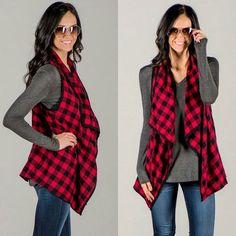 Buffalo plaid is definitely my favorite pattern of the season!! Get this versatile darling vest for only $23.99!