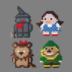Wizard of Oz Perler Bead Magnet Set: Dorothy, Tinman, Scarecrow, Lion