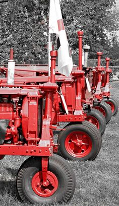 Big red tractors all in a row. At the Clinton County Corn Festival 2013 in Southwest Ohio. By Sarah Newton of Etched In Time Photography. http://www.clintoncountyohio.com/ #VisitClintonCounty