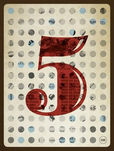 Number Five - Vintage Countdown poster Typography Inspiration, Typography Design, Lettering, Give Me Five, Graphic Art, Graphic Design, Type Illustration, 2d Design, Art Wall Kids