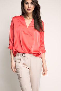 Esprit / Soepele satijnen blouse met drapering