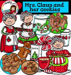 Mrs. Claus and her cookies clip art set contains 24 image files, which includes 12 color images and 12 black & white images in png.includes:Mrs. Claus1.Mrs. Claus2.Mrs. Claus3Christmas reindeer cookie.Christmas reindeer cookies on a plate.Cookie jar.Flour bag.Gingerbread man.Gingerbread men on a plate.Glass of milk.Mixing bowl.Peppermint candy.This clipart license allows for personal, educational, and commercial small business use.