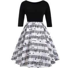 White And Black 3xl Musical Notes Printed Plus Size Vintage Dress ($16) ❤ liked on Polyvore featuring dresses, black white dress, vintage day dress, vintage dresses, womens plus dresses and plus size dresses