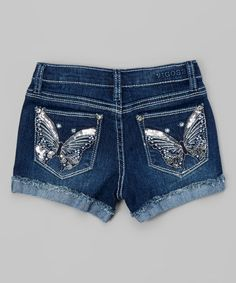 This Mist Butterfly Denim Shorts - Girls is perfect! #zulilyfinds