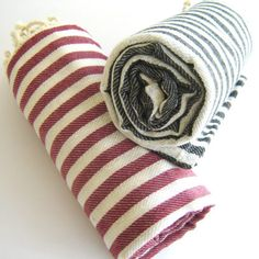 SALE Set of 2 Turkish Bath Towel: Peshtemal, Bath, Beach, Spa Towel, Red and Black,, , mom, summer coverups, bridesmaid, mother's day.| schoonerchandlery.com