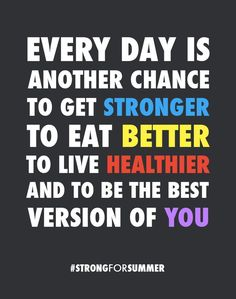 """""""Every day is another chance to get stronger, to eat better, to live healthier and to be the best version of YOU."""" Love this quote! #hotmamafit #motivation #StrongForSummer via medium.com"""