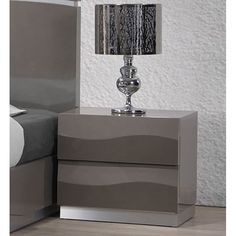 Shop Chintaly Imports Delhi Gloss Grey 2 Drawer Night Stand with great price, The Classy Home Furniture has the best selection of Night Stands to choose from Grey Furniture, Solid Wood Furniture, Home Furniture, Furniture Outlet, Online Furniture, Furniture Storage, Bedroom Tv Stand, Bedroom Sets, Bedroom Decor