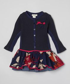 Take a look at this Navy Bow Ribbed Dress - Infant, Toddler & Girls on zulily today!