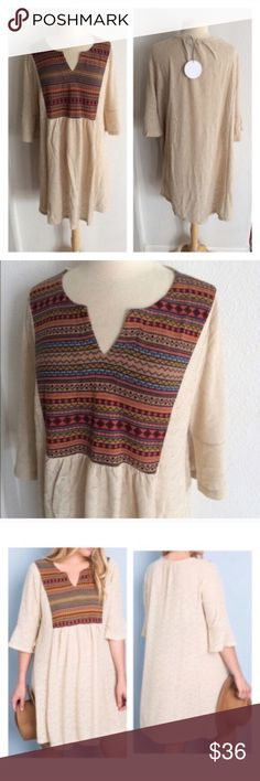 """BLOWOUT! 3 LEFT! (Plus) Chic boho dress Boho dress. 100% polyester. These are very stretchy and semi sheer- cami slips are available in my closet.  XL: L 38"""" B 44"""" 1x: L 38"""" B 46""""  ⭐️This item is brand new with tags 💲Price is firm unless bundled ✅Bundle offers Availability: XL•1x •1•2 Dresses"""