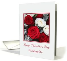 Goddaughter Happy Valentine's Day red and white roses card