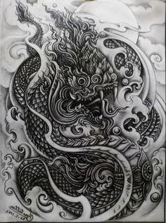 Cambodian Tattoo, Khmer Tattoo, Cambodian Art, Thai Tattoo, Dragon Tattoo Full Back, Dragon Head Tattoo, Snake Tattoo, Sak Yant Tattoo, Thailand Art