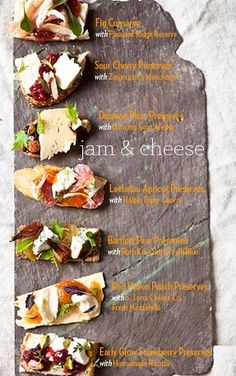 Jam & Cheese Pairings This visual stimulation for creating creative, decadent cheese plates from American Spoon is a feast for the eye as well as the stomach. Scroll down for a quick lesson in ...