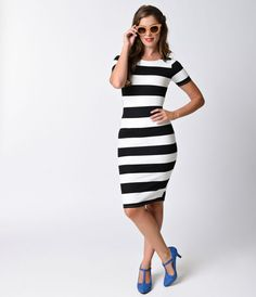961e52af3530 New In Package Unique Vintage Striped Wiggle Dress