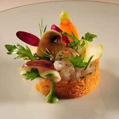 Stephane Decotterd's Féra tartare   FOUR Magazine croquant of seasonal vegetables