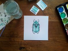 """Mi piace"": 15, commenti: 1 - Sara (@sarapetitchou) su Instagram: ""altro quadretto per la Botanic room pronto 🐞🌿🌵 #scarabeo #coleottero #botanic #greenaddict #pelikan…"""