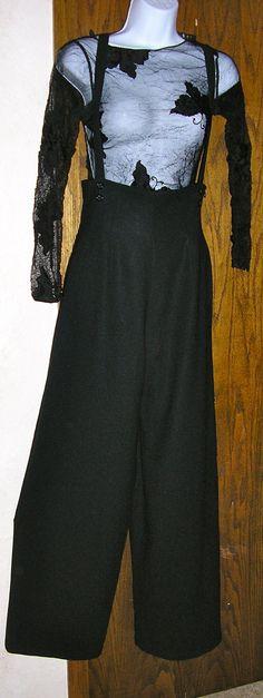 70s Anne Klein black crepe high waist wide by ChloeandNatalieVtg, $75.00