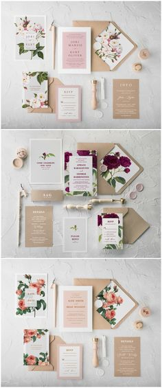 Beautiful Botanical Calligraphy wedding invitations. Simple and classic design combines a romantic patterns with eco kraft papers. Wedding invitation features floral envelope's liners and delicate twine #wedding