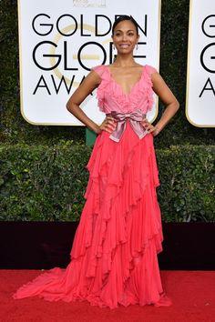 The 10 best dressed celebrities at the 2017 Golden Globes: Zoe Saldana