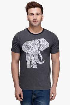 #RIGO #Charcaol #Melange Elephant Printed Round Neck #Tee