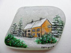 English snow cottages  original acrylic by Alienstoatdesigns, $35.00